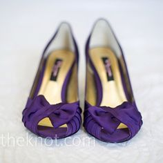 Natalie was on the hunt for purple shoes to match the bridesmaid dresses, so when she found these peep-toe pumps with bows at the toes, she knew they were perfect. Purple Bridesmaid Shoes, Purple Shoes, Bridesmaid Dresses, Peep Toe Wedding Shoes, Nina Shoes, Shoes Photo, Shades Of Purple, Dark Purple, Davids Bridal Dresses