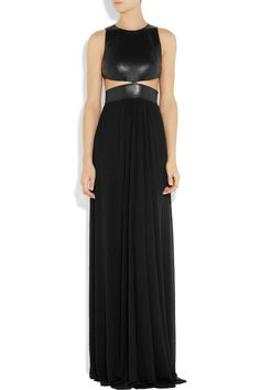 i ADORE this MICHAEL KORS  Cutout leather and stretch-jersey gown- can i have it, pleeeease?