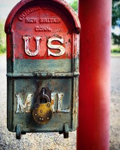 Post post  #texture #patina #time #rust #paint #old #vintage #20thcentury #americana #murica #usmail #post #classic #red #blue #font #typography #letters #mailbox