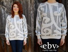 #Vintage #80s #Graphic #Oversized #Knit #Sweater #Jumper S M by shopEBV, $55.00
