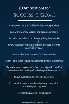 10 Affirmations for Success & Goals in personal and professional life. Help balance your mind, body & spirit and grow and transform your life. Positive Affirmations Quotes, Morning Affirmations, Affirmation Quotes, Positive Quotes, Motivational Quotes, Affirmations For Success, Inspirational Quotes, Dale Carnegie, Intuition Quotes
