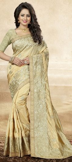 740158 Beige and Brown  color family Embroidered Sarees, Party Wear Sarees, Silk Sarees in Art Silk fabric with Lace, Machine Embroidery, Thread, Zari work   with matching unstitched blouse.