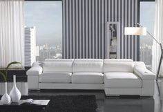 T136C White Top Grain Italian Leather Sectional Sofa With Adjustable Headrests modern sectional sofas