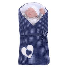 Sevira Kids - Gigoteuse d'emmaillotage Multi-Usage en 100% coton certifié - Nid d'ange naissance Hearts Bleu marine:Amazon.fr