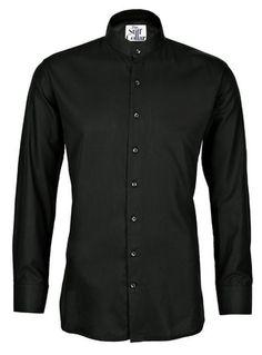 Black Satin Full Sleeves Mandarin Collar