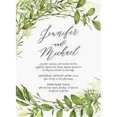 Watercolor Greenery Wedding Invitations | Elli