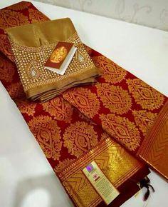 Saree Bridal Sari, Bridal Wedding Dresses, Saree Wedding, Wedding Wear, Indian Bridal, Kanchipuram Saree, Handloom Saree, Salwar Kameez, South Indian Blouse Designs