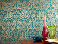 €39.90 Price per roll (per m2 €7.63), , Carrier material: Paper-based wallpaper, Surface: Smooth, Look: Shiny pattern, Matt base surface, Design: Floral damask, Basic colour: Turquoise, Pattern colour: Gold, Characteristics: Lightfast, Wet removable, Paste the wallpaper, Water-resistant