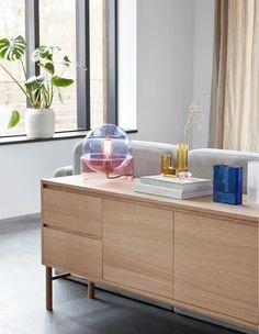 Futuristisches Design, Lamp Design, Interior Design, Oak Dresser, Oak Sideboard, Buffet Design, White Oak Wood, Scandinavian Interior, Glass Table
