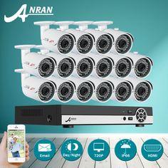 New Listing ANRAN 16CH 1080N AHD DVR 1800TVL Night Vision CCTV System 16pcs 720P Security Cameras Video Surveillance Kit