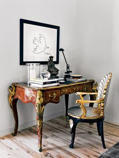 The Decorista-Domestic Bliss: office space of the day... simple glamour