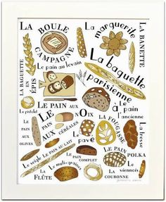 Kitchen Art Home Decor Poster French Breads art print Pains Francais Gourmet foodie food brown typographic print French Kitchen, Kitchen Art, Kitchen Prints, French Crafts, Bread Art, French Classroom, Teaching French, French Food, Learn French