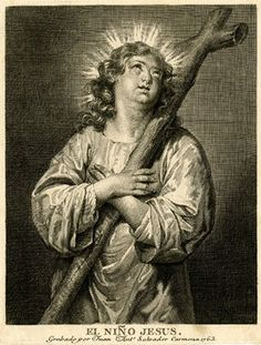 Christ Child three-quarter length, looking up and facing front, his hands crossed over his chest holding the cross.  1763 Etching and engraving