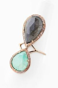 Jacquie Aiche 14K ROSE GOLD TRINITY PARTIAL DIAMOND DOUBLE TEARDROP LABRADORITE & CHRYSOPRASE BEZEL RING  #jacquieaiche #jewelry #fashion