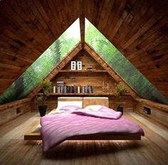 Image 34 of 40 from gallery of Cozy Small Attic Bedroom Design and Decorating Ideas. Amusing small attic bed room idea with ceiling design idea plus glass roof also pink bed for wooden floor Attic Bedroom Designs, Attic Bedrooms, Bedroom Ideas, Bedroom Decor, Bedroom Closets, Bedroom Loft, Bedroom Small, Small Rooms, Master Bedroom