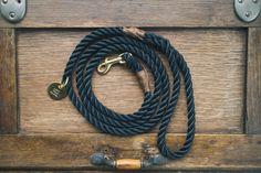 Midnight Black Rope Dog Leash // Rope Dog Lead by AnimalsInCharge