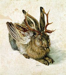 A wolpertinger (also called wolperdinger, poontinger or woiperdinger) is an animal said to inhabit the alpine forests of Bavaria in Germany. It has a body comprised from various animal parts — generally wings, antlers, tails and fangs, all attached to the body of a small mammal. The most widespread description is that of a horned rabbit or a horned squirrel.