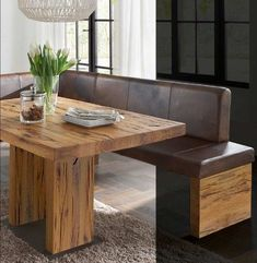 de rnrnSource by johannahilje Dining Room Corner, Corner Bench, Dinning Table, Dining Bench, Dining Chairs, Moroccan Interiors, Kitchen Nook, Solid Oak, Decoration