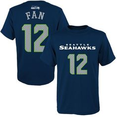 Fan 12 Seattle Seahawks Youth Primary Gear Player Name & Number T-Shirt - College Navy
