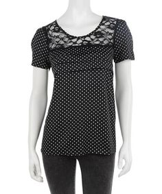 Take a look at this Anmol: Black & White Polka Dot & Lace Top by Anmol on #zulily today!