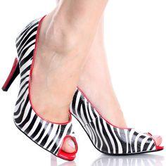 Black-White-Zebra-Patent Peep Toe Stiletto Womens High Heel Shoes