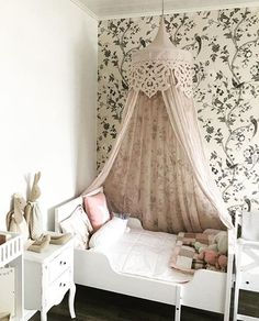 Super cute wallpapered nursery