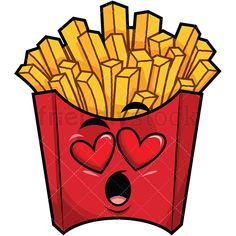 In Love French Fries Emoji: Royalty-free stock vector illustration of a french-fried potatoes emoji (in a red pack), with heart eyes and its mouth wide-open, falling in love. Burger Cartoon, Food Cartoon, Emoji Clipart, Vector Clipart, Doodle Drawings, Cartoon Drawings, Fried Chips, Funny Emoji Faces, Doodle Art Designs