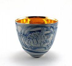 "Johanna DeMaine - ""Deep into the sea"": Vessel, 9.5cmx11cmx9.5cm, translucent porcelain, sand etched, celadon, gold,"
