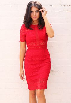 Short Sleeve Embroidered Lace Pencil Dress with Cut Out Detail in Red - One Nation Clothing - One Nation Clothing - 1