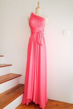 Coral Pink Maxi Convertible Wrap Dress can be wore in more than 20 styles and fits many different body types easily. Ideal for bridesmaid dress and other formal occasions too.