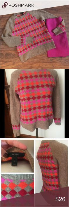 J. Crew pink diamonds sweater Brand: J.Crew Size: medium (fits more like a small)   Underarm to underarm: 17 inches across (laid flat) Length: 22 inches J. Crew Sweaters Crew & Scoop Necks