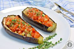 Gefüllte Aubergine Eggplant Recipes, Greens Recipe, Paleo Recipes, Baked Potato, Zucchini, Low Carb, Vegetables, Cooking, Ethnic Recipes