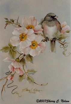 42 Dark-eyed Junco with Wild Roses 9 x 12 - 185 00 Art Floral, Watercolor Bird, Watercolor Paintings, Illustration Blume, China Painting, Painting Flowers, Bird Drawings, Bird Pictures, Bird Prints