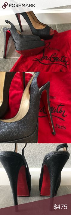 28637e7d5422 Christian Louboutin Lady Peep Sling Back Christian Louboutin Lady Peep  Sling Back Black glitter BRAND NEW red soles. 3 size heel replacements Size  (us ...