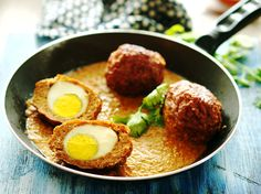 Indian version of Scotch Eggs called 'Nargisi Kofta'. Boiled eggs coated with minced meat and cooked delicately in rich and creamy curry.