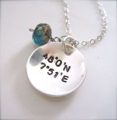 Great Coordinates necklace;  I would love a charm necklace with the coordinates for all the places I've called home.