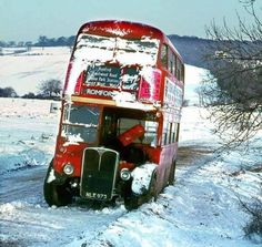 London Transport RT 4309 on route 247 to Romford stuck in the snow at Tylers Common, February Lamborghini, Ferrari, London Bus, Old London, London Transport, Public Transport, Richard Branson, Classic Trucks, Classic Cars