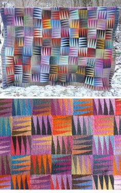 Free Knitting Pattern for Happy Blanket - This afghan uses short rows to create triangle patterned squares from your stash or scrap yarn. Knit in section rows of 7 separate garter stitch pieces. Designed by Camilla Gugenheim. Pictured project by Mirja.