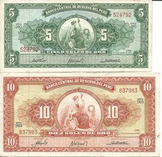 Billetes de 5 y 10 soles de oro antiguos (anverso)