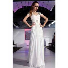 Edle geraffte Abendkleider Weiß A-Linie Chiffon Lang mit Ärmeln