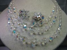 Vintage 1950's Cut Glass Beaded Triple Strand by stampshopgirl