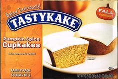 Tastykake Pumpkin Spice Cupkakes are a perfect taste of Autumn in Philly. A lightly spiced pumpkin cake with a creamy frosting. Grab some apple cider and go to town!!