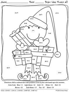 BRIGHT IDEAS FOR THE HOLIDAYS ~ CHRISTMAS MATH COLOR BY THE CODE PUZZLES - TeachersPayTeachers.com