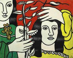chloefrancillon:  Deux femmes et une fleur (1949) by Fernand Léger.