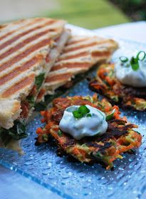 three square chef: Summer Vegetable Pancakes with Basil Chive Cream