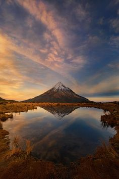 "ponderation: ""Mount Taranaki: Winter Sunrise by Yan Zhang Website """