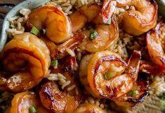 Beef Cubed Steak, Pork, Healthy Snacks, Healthy Recipes, Ww Recipes, Ham And Cheese Crepes, Garlic Shrimp, Shrimp Recipes, Shrimp Dishes