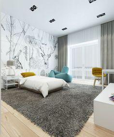 Modernes Kinderzimmer in weiß und grau mit wenigen Farbakzenten