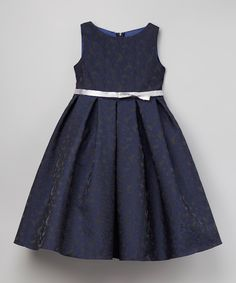 This Kid's Dream Navy & Silver Floral A-Line Dress - Toddler & Girls by Kid's Dream is perfect! #zulilyfinds