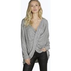 Boohoo Sara Twist Front Jumper ($26) ❤ liked on Polyvore featuring tops, sweaters, grey, cropped jumper, green sweater, crop top, green jumper and jumpers sweaters